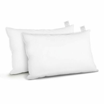 Giselle Bedding Goose Feather Down Pillow Twin Pack Standard Size Fluffy Hotel