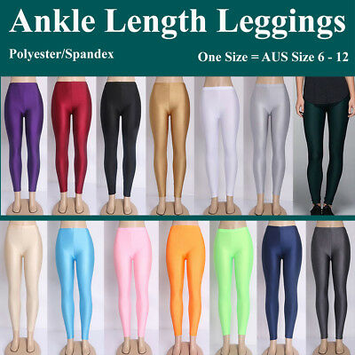 Anke Length Leggings Pants One Size Solid Colour Lycra Nylon Stretch Skinny