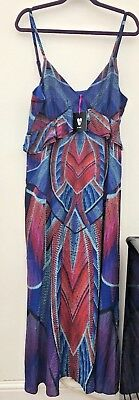 Pretty V By Very Blue Multi Print Ruffle Front Strappy Maxi Dress - Size16 NWTS
