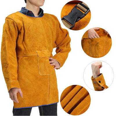 80CM Durable Leather Welding Long Coat Apron Safety Cowhide Suit Welders Cloth