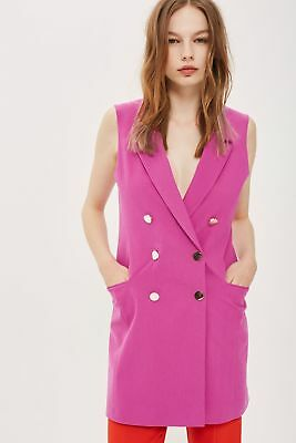 c38472f7c Bnwt Topshop Hot Pink Double Breasted Blazer Dress With Gold Buttons Size 10