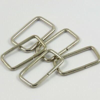 40mm 1 5/8 in Heavy Rectangle Metal Loop in Silver for Webbing Bag Making (M013)