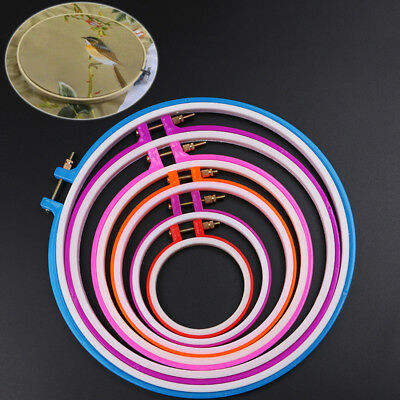 AU Plastic Cross Stitch Machine Embroidery Hoop Ring Sewing Frame 8-25cm