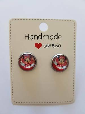 Brand New Handmade Minnie Mouse Cabochon Earrings