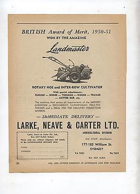 Landmaster Rotary Hoe & Cultivator Advertisement from 1952 Farming Magazine