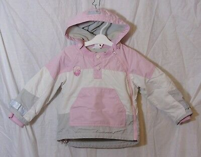 Baby Girls H&M Pink White Hooded Fleece Lined Ski Coat Jacket Age 12-18 Months