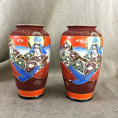 Pair Of Japanese Vases Antique Satsuma Vintage Painted Porcelain