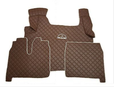 Set of LHD BROWN Floor Mats Cover For MAN TGA/TGX/TGS 2010-2018 Eco Leather.