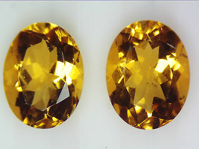2.27 Ct Natural Orange Citrine Quartz Pair Loose Gemstones 8X6 Oval Faceted Cut