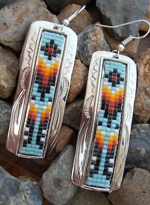 Sterling Silver 925 earrings Beaded Mosaic Engraved large Native American Indian
