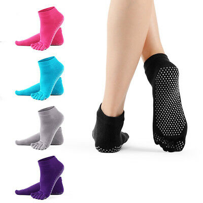 Yoga Fitness Grip Excercise Five Toe Socks Gym Rubber Pilates Non Slip Socks