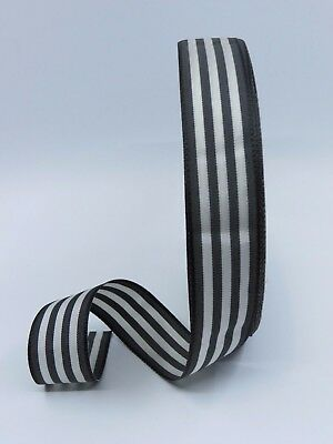 25mm width, Black with White Striped Ribbon, double side Cloth Tape