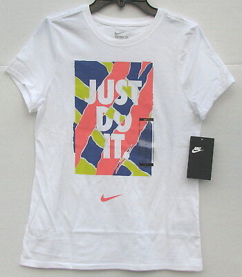 9ddd0afefcc6 NEW Girls NIKE TEE Athletic Cut Cotton Graphic Shirt White Size Large NWT