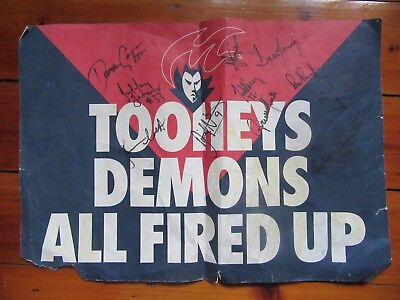1990's C Melbourne Football Club Poster With 11 Signatures J. Stynes J. Farmer