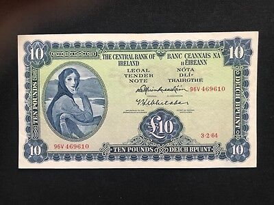 Irish ten pounds lady lavery the Central Bank of Ireland 1964 Fine EF