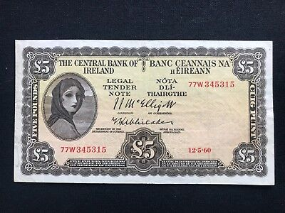 Irish five pounds lady lavery the Central Bank of Ireland 1960 GVF Sterling