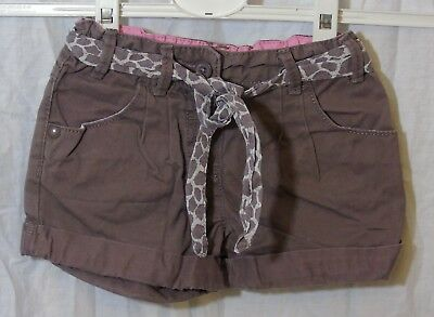 Baby Girls F&F Brown Belted Cotton Turn Ups Adjustable Waist Shorts Age 18-24