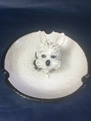 VINTAGE West Highland Terrier Ashtray / 3 D Porcelain Dish Made in Italy