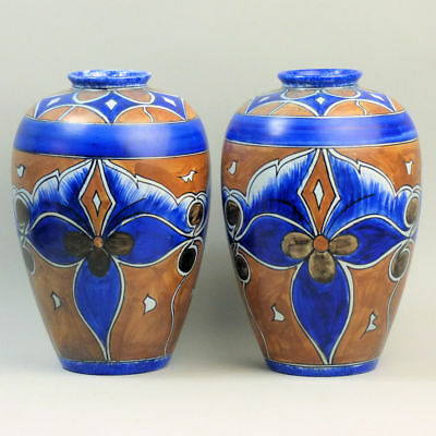 A Pair Of Clews Chameleon Ware Art Deco Pottery Vases