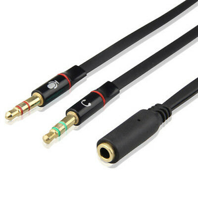 3.5mm Y Splitter 2 Jack Male to 1 Female Headphone Mic Audio Adapter Cable