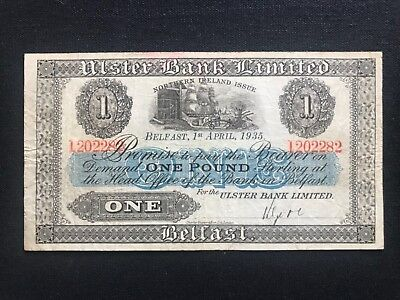 Ulster bank limited one pound no prefix 1935