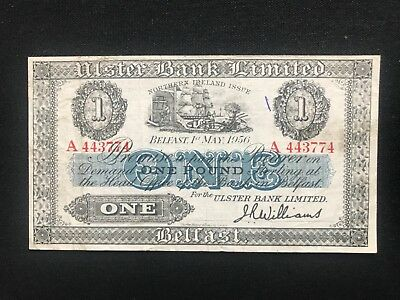 Ulster bank limited one pound Prefix A 1956