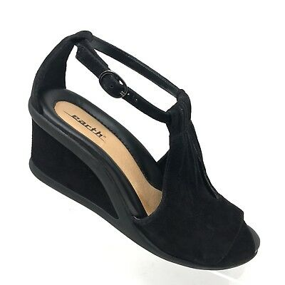 8d779c9dc14e Earth CAPER Black Suede Wedge Sandal Peep Toe Ankle Strap Heel Womens SIZE  8 B