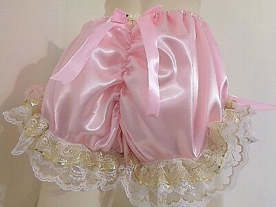 Sissy Crossdresser Frilly Pink Satin ^* Panties Bloomer Adult Dressup Men Girl