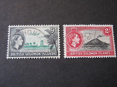 BRITISH SOLOMON ISLANDS 1956-63 9d & 2/- (WMK MULT. SCRIPT) SG 90a & 92  F. USED