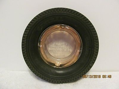 Vintage General Tire Advertising Tire Ashtray With Pink Depression Glass Ashtray