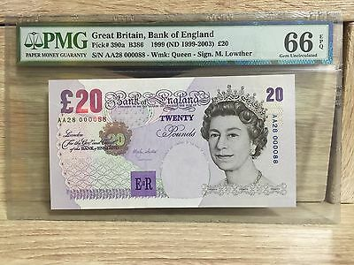 """1999 Great Britain Bank Of England QE II £20 P-390a Low Serial """"88"""" PMG 66 EPQ"""