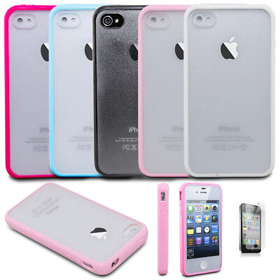 8928c8d21b26fc For Apple iPhone 4   4S Shockproof Clear Matte Slim Hybrid Bumper Case Cover