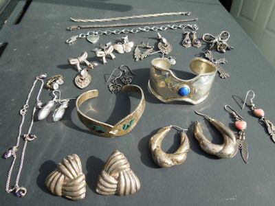 Estate: Vintage Mixed Lot of Sterling Silver Jewelry - All are Marked