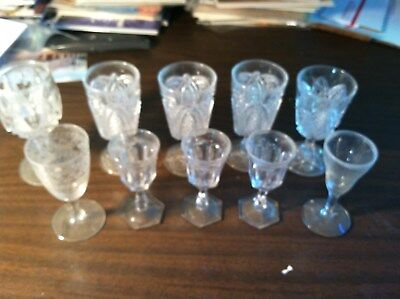 10 ANTIQUE CORDIAL GLASSES 3 CUT GLASS 1 ETCHED 6 PRESSED GLASS super ESTATE LOT