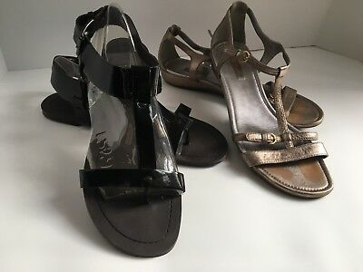 Lot of 2 Women's Ecco G68928 and Moda Sandals Size 10 or 11M 42 Black and Silver