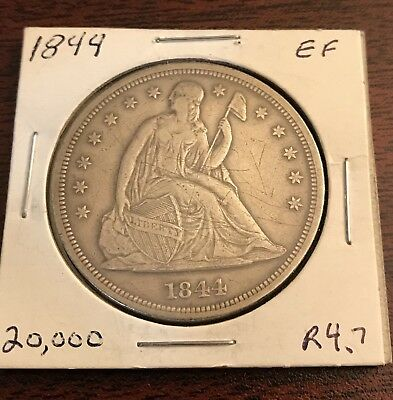 1844-P Seated Dollar $1 only 20k minted scratches VF+ original