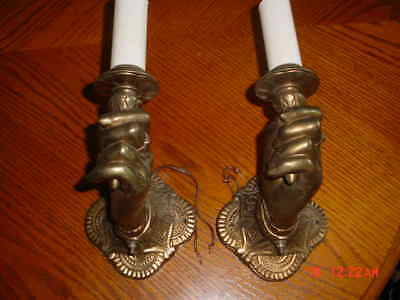 Vintage Antique Pair Cast Bronze Hand Holding Torch Wall Sconces