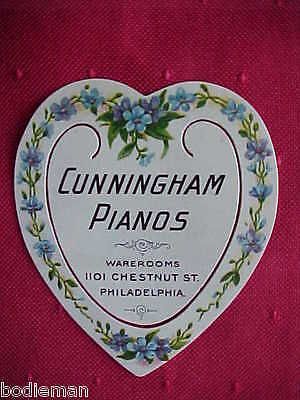 "EARLY CELLULOID BOOKMARK - ""Cunningham Pianos"" - 1900"