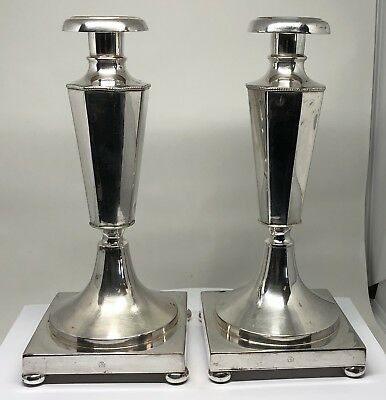 Victorian Pair of Matched Candlesticks Silverplate c.1890's