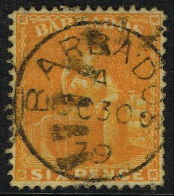 SG 79 BARBADOS 1876 – 6d CHROME-YELLOW (perf 14) – USED