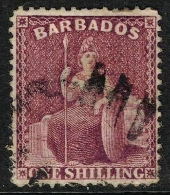 SG 83 BARBADOS 1879 – 1s DULL MAUVE (perf 14) – USED
