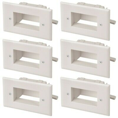 6x 2-Gang EZ Mount Slim Recessed Low Voltage Wall Plate Cable Pass Through White