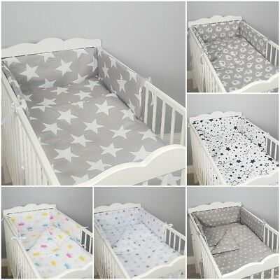 5 3 2 pc LUXURY COT/COT BED BABY BEDDING SET bumper quilt pillow duvet nursery