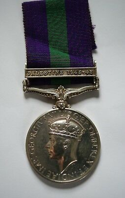 Wwii British General Service Medal Clasp Palestine 1945-48 Gnr 80 Laa Regt Ra