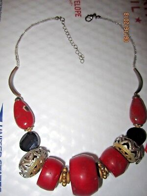 Stunning Antique Chinese Tibetan Red Coral? Hand-Made High End Estate Necklace
