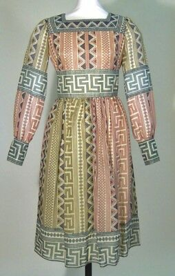 Vintage Jean Varon Geometric Long Sleeve Party Dress Dating From 1969 To 1971
