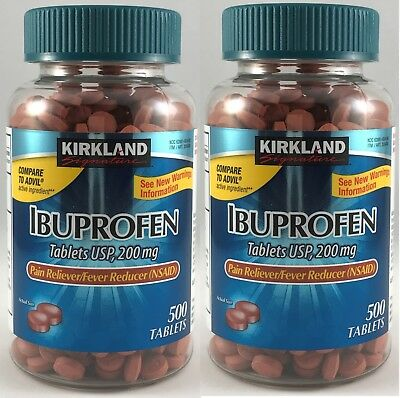 2 x Kirkland IBUPROFEN (500 TABLETS) 200mg Pain Reliever