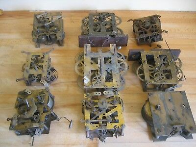 Collection 9 Vintage Mechanical Brass Clock Movements - Spares or Repair