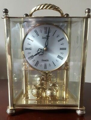 Large Quartz Acctim Carriage Clock Germany Brass + Glass