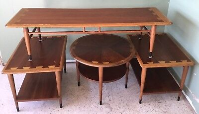 Four Piece Mid-century Lane Acclaim Dovetail Walnut Wood Living Room Tables